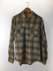60s/60年代/フラップオープンカラーウールシャツ/長袖シャツ/BEG/チェック