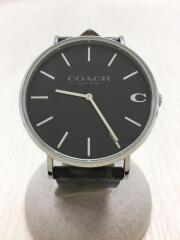 CHARLES/チャールズ/クォーツ腕時計/アナログ/レザー/BLK
