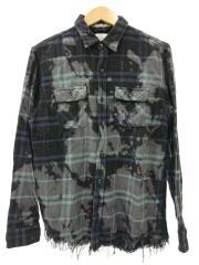 長袖シャツ/M/コットン/NVY/Bleach Flannel Shirt