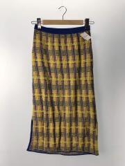 ロングスカート/36/コットン/マルチカラー/チェック/ニットスカート