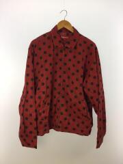 Polka Dots Rayon Work Jacket/18SS/ジャケット/M/レーヨン/レッド/玉虫