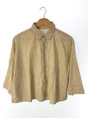 7分袖シャツ/O/コットン/BEG/ストライプ