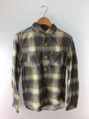 チェックシャツ/長袖シャツ/M/コットン/GRN/312070122-1079