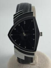 H244112/VENTURA/ベンチュラ/クォーツ腕時計/アナログ/レザー/BLK/純正ジャバラヘ
