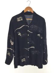 ALOHA LONG SHIRT/Drive in Theater/アロハシャツ/S/レーヨン/BLK