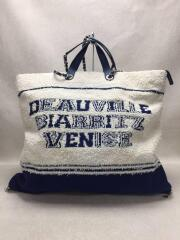 CHANEL COCO Logo Large Shopping 2way tote Bトートバッグ/コットン/WHT