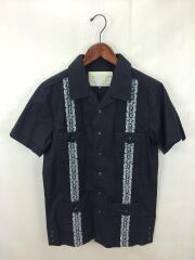 オープンカラー/キューバシャツ/M/コットン/BLK