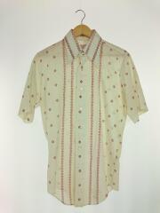70s/半袖シャツ/15.5/コットン/BEG/vintage/OLD/メンズ