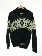 セーター(厚手)/L/ウール/ローゲージ/ノルディック/民族柄/ルード/メンズ
