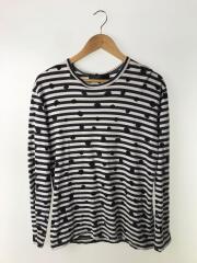 長袖Tシャツ/L/コットン/BLK/ボーダー/ブラック