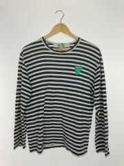 長袖Tシャツ/M/コットン/ネイビー/ボーダー/ハートワッペン