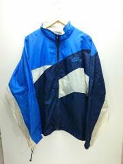 ナイロンジャケット/XL/ナイロン/BLU/無地/90s/銀タグ/襟元、袖元汚れ有り