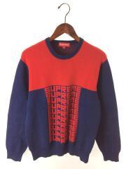 セーター(厚手)/S/コットン/RED// クルーネック ハイゲージ ジャガード ロゴ