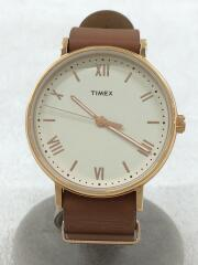 タイメックス/クォーツ腕時計/アナログ/レザー/WHT/CML
