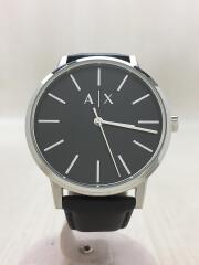 クォーツ腕時計/アナログ/レザー/ブラック/AX2703/アルマーニエクスチェンジ