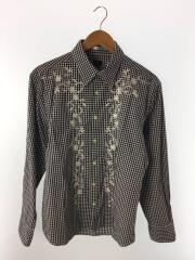 ポールスミス/フラワー刺繍ギンガムチェック長袖シャツ/XL/コットン/ネイビー/ホワイト/シミ有