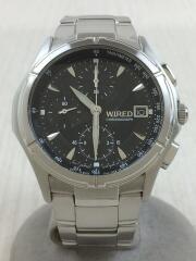 ワイアード/クォーツ腕時計/アナログ/ステンレス/ブラック/シルバー/7T92-0GB1