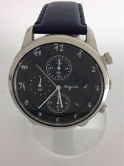 アニエスベー/VD57-00A0/クォーツ腕時計/アナログ/レザー/ブラック/ネイビー/ヨゴレ有