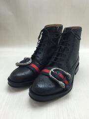 ウェブ付レザーブローグブーツ/496250/ブーツ/UK7/BLK/レザー/GUCCI/グッチ