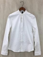 banded collar natural V shirts/長袖シャツ/M/コットン/WHT