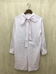 バックタイシャツ/チュニック/FREE/コットン/PNK/ストライプ/GGZ1092604A0001