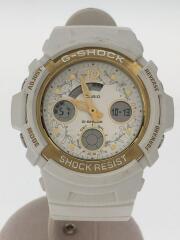 クォーツ腕時計/デジアナ/ラバー/WHT/WHT/AW-590LG