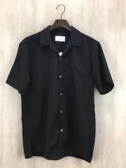 ブライトサテンリラックスオープンカラーシャツ/半袖シャツ/3/ポリエステル/BLK