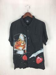 SHORT SLEEVE COCKTAIL SHIRT/半袖シャツ/L/レーヨン/BLK