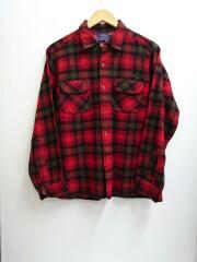 ウールチェックシャツ/L/ウール/レッド/チェック