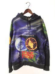 18SS/Public Enemy Hooded Sweatshirt/M/コットン/BLK/総柄