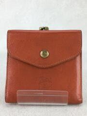 がま口2つ折り財布/レザー/BRW