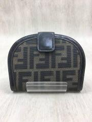 2つ折り財布/キャンバス/BLK/総柄/