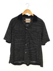 ゼブラプリントシャツ/20-022256M/半袖シャツ/2/ポリエステル/BLK/総柄/オープンカラー