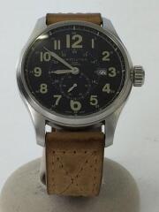 ハミルトン/自動巻腕時計/アナログ/レザー/ブラック×キャメル/ベルト傷、穴開け有