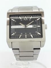 クォーツ腕時計_ステンレス/アナログ/ステンレス/ブラック/シルバー/AX2200