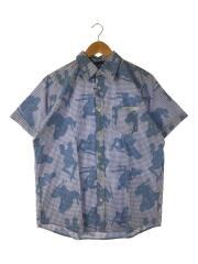 半袖シャツ/M/コットン/BLU/チェック