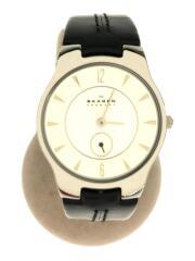 クォーツ腕時計/アナログ/レザー/WHT/BLK/433SSLC
