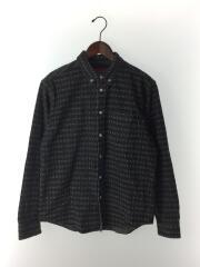 長袖シャツ/S/コットン/BLK/20SS/Jacquard Logos Denim Shirt