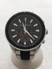 クォーツ腕時計/アナログ/ステンレス/BLK/SLV/AX7106/中古