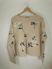 セーター(薄手)/FREE/アクリル/BEG/20年モデル/モヘア混/花刺繍