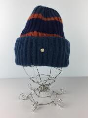 ニットキャップ/M/カシミア/BLU/ダブルニット帽/イギリスゴム編み/ヘッドウェア/ビーニー