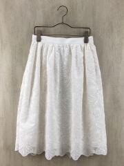 スカート/38/コットン/WHT/刺繍/レース