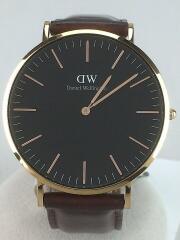 クォーツ腕時計/B40R25/アナログ/レザー/BLK/BRW