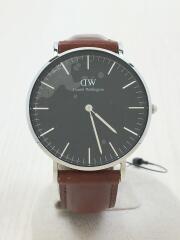 クォーツ腕時計/アナログ/レザー/BLK/BRW/ダニエルウェリントン