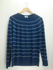 セーター(薄手)/M/ウール/BLU/ボーダー/579-260402/