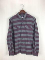 patagonia fjord flannel shirt/長袖シャツ/M/コットン/ボーダー/ネルシャツ