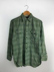 40s~/vintage/長袖シャツ/--/ウール/GRN/チェック/OLD/ヴィンテージ/オールド
