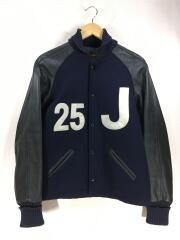 USA製/袖レザー切り替えスタジャン/34/ウール/NVY/used
