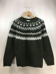 スコットランド製/セーター(厚手)/ノルディック/36/ウール/KHK/MADE IN SCOTLAND