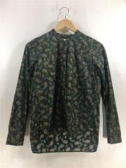長袖ブラウス/S/コットン/BRW/総柄/used blouse